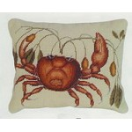 Crab Needle Point Pillow Beige Back