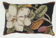 Magnolia Needle Point Pillow Beige Back 18 x 28 in