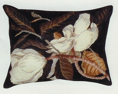 Magnolia Needle Point Pillow Beige Back 16 x 20 in.