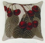 Red Cherries Petit Point Pillow