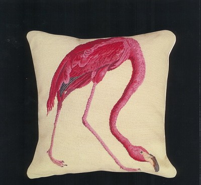 Needle Point  Mixed Stitched Flamingo Pillow