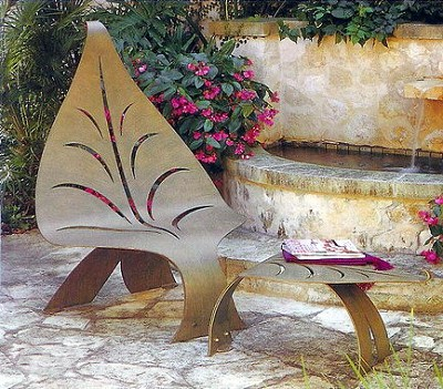 Leaf Garden  Bench and Table Stool Hand Crafted Steel