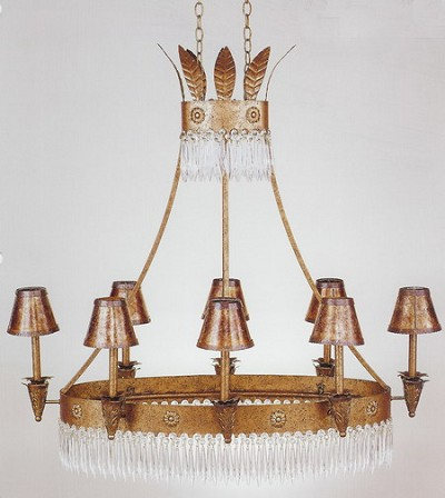 Royal Crown  Chandelier Golden Chocolate Hand Painted Steel