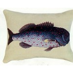 Rock Fish Needlepoint Beige Back