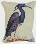 Blue Heron Needlepoint Beige Back