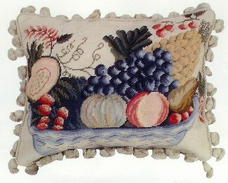 Fruit Bowl Needlepoint Beige Back