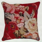 Diagonal FLowers  Needle Point Pillow Brown Back
