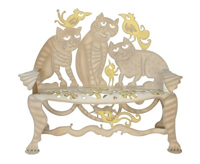 Cat Bench and Garden Bench  Hand Crafted Steel