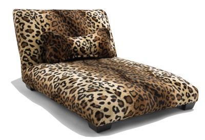Leopard Dog Bed Custom  Made with Wooden Legs