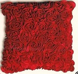 Designer Red Rose Wool Felt Accent Pillow