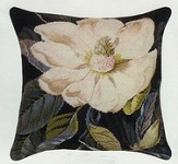 Magnolia Needle Point Pillow Black Back 18 x 18 in